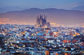 Cityscape Barcelona - Sagrada Familia, one of the most important national landmarks.